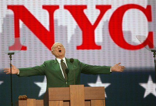 In this Aug. 30, 2004, photo, former New York Mayor Ed Koch speaks at the first day of the Republican National Convention in New York.