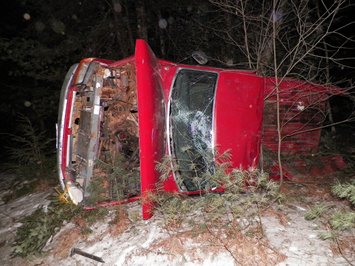 The 1993 Ford pickup truck that rolled over after a high-speed pursuit through Belgrade Saturday evening.