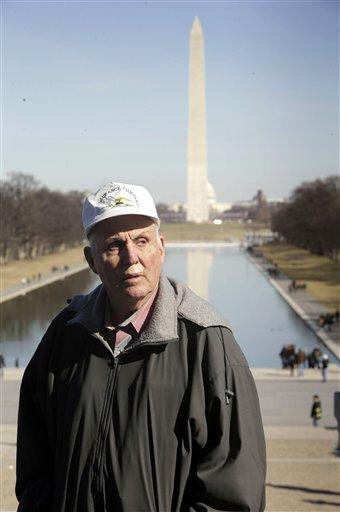 Indiana farmer Vernon Hugh Bowman, 75, visits the Lincoln Memorial in Washington on Monday.