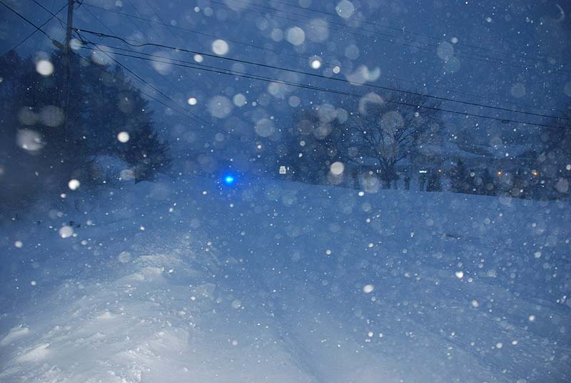 Near white-out conditions around 6:30 a.m. in Gorham on Route 114 on Saturday.