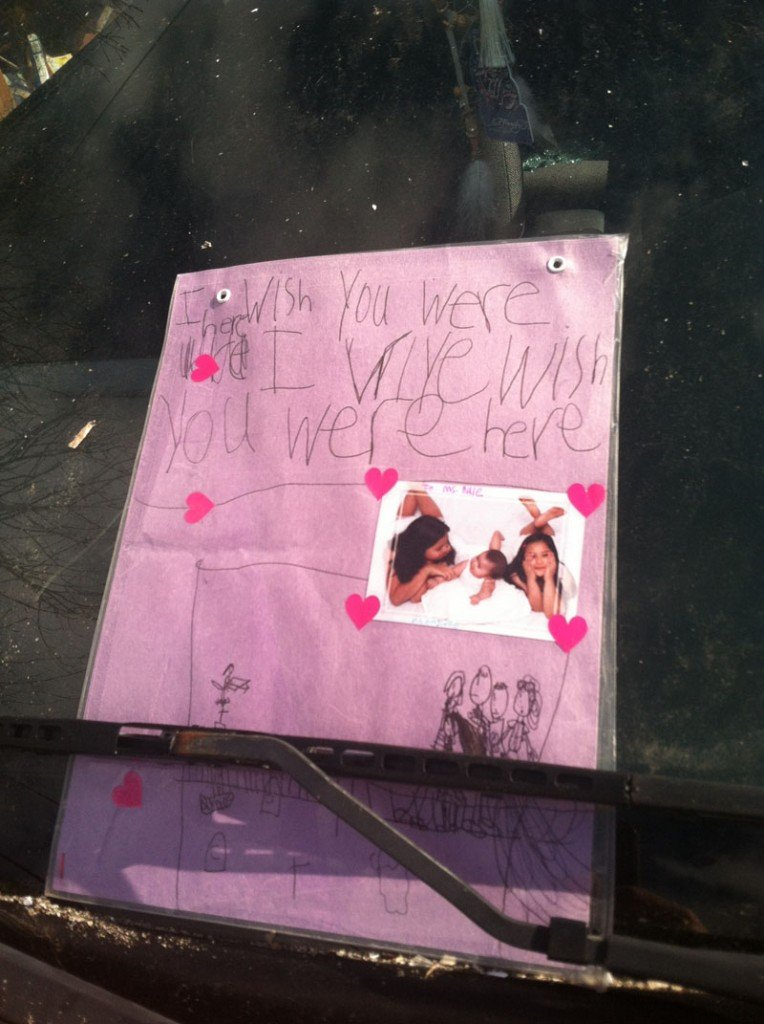 A child's card was tucked under the windshield wiper of a car parked in front of Dale Ann Fussell's apartment on Wednesday.