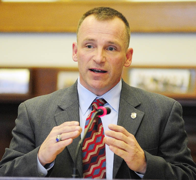 Lt. Col. Raymond Bessette, deputy chief of the Maine State Police, testifies during a public hearing on L.D. 236, An Act To Protect the Privacy of Citizens from Domestic Unmanned Aerial Vehicle Use, before the Judiciary Committee on Tuesday at the State House in Augusta.
