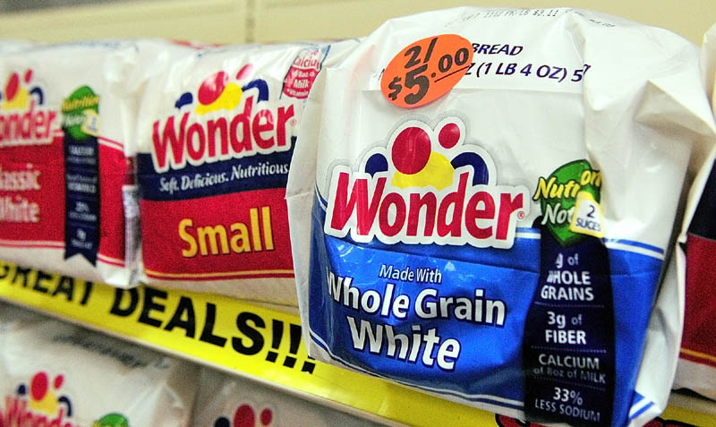 In this November 2012 file photo, Wonder bread is on sale at the J.J. Nissen Hostess Bakery Outlet in Augusta. A person familiar with the situation says a bid by Flowers Foods to buy Wonder and several other bread brands from bankrupt Hostess was met with no competing offers.