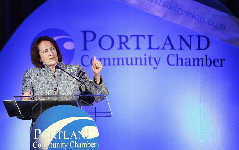 Karen Mills, administrator of the Small Business Association, speaks at Eggs & Issues in Portland in January 2012.