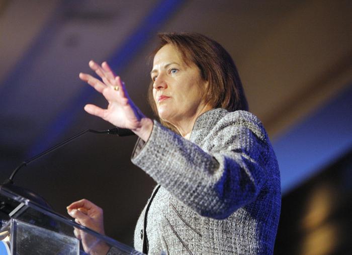 Karen Mills speaks at the Portland Regional Chamber's Eggs & Issues breakfast in Portland on Jan. 20, 2012.