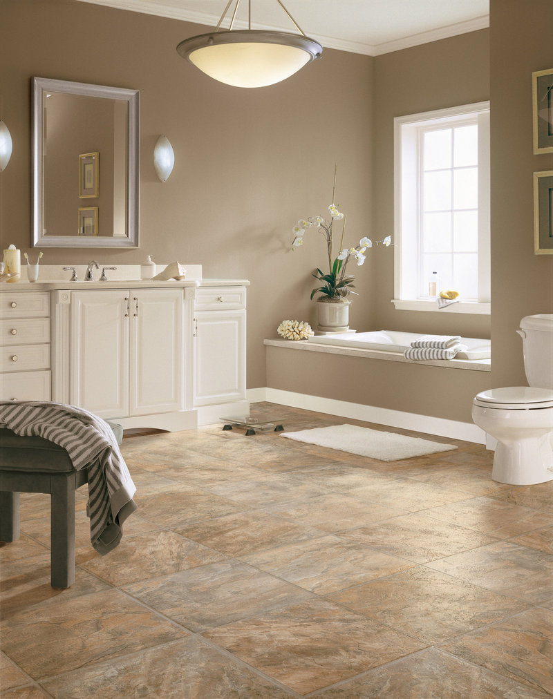 Vinyl is water-resistant and easy to clean, making it ideal flooring for bathrooms.