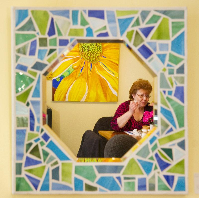 Kim Barnett of Biddeford enjoys lunch at Dahlia's Delights.