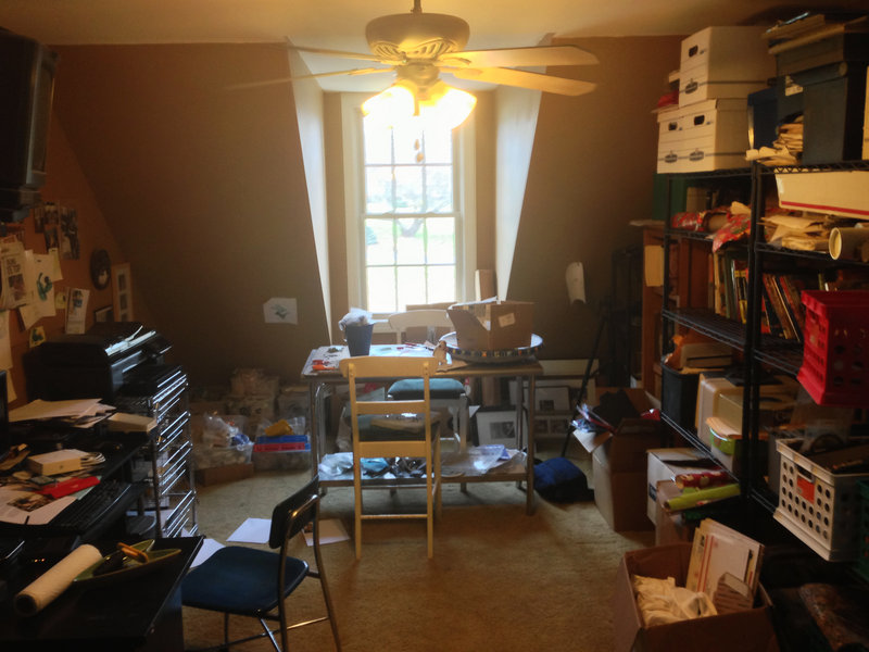 Before and after: Brian Patrick Flynn turned a disorganized catch-all room, above, into a clean, colorful, usable space, below.