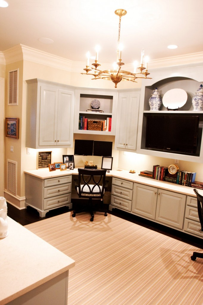 Providing ample storage in a limited amount of space was a goal for designer Mallory Mathison, who created this office zone that doubles as an entertainment center.