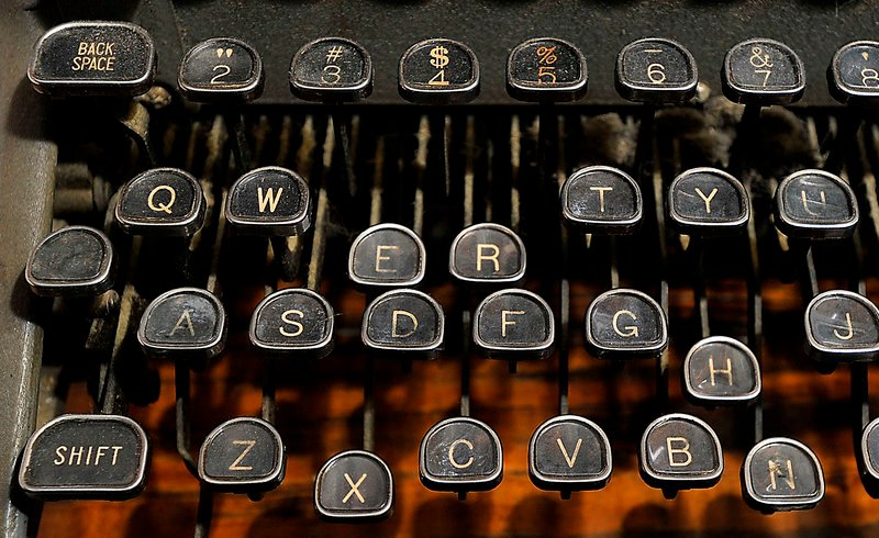 The well-worn keys of a Royal typewriter in the LFK collection.