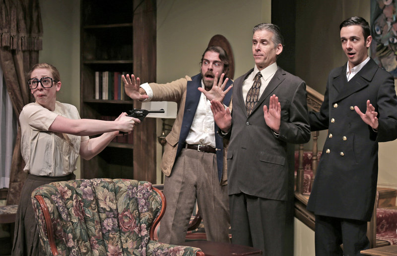 """Kat Moraros, Matthew Delamater, Paul Haley and Benjamin Row in a scene from Good Theater's production of """"Death by Design,"""" a comedy with murder, by Rob Urbinati, directed by Brian P. Allen, continuing through Feb. 24 at the St. Lawrence Arts Center in Portland."""