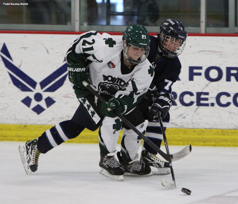 Dakotah Clement, left, a high-school ice hockey player from Berwick, left her home and school in Maine to join the Boston Shamrocks hoping to attract attention from colleges.