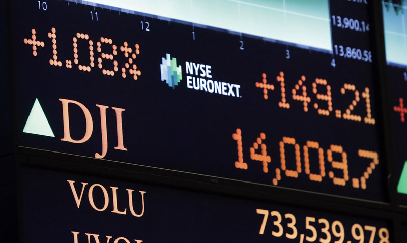 The Dow Jones industrial average topped 14,000 for the first time since 2007 on Friday.