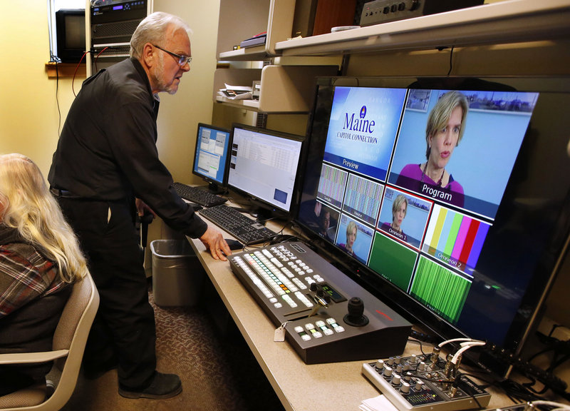 Eric Bunford, an editor and director for Maine Capitol Connection, tests the system that will be used to broadcast live legislative sessions at the State House.