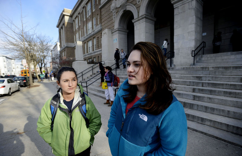Ajna Hasanovic, 17, left, and Ava Zwolinski, 16, both juniors at Portland High School, discuss proposed changes to the school calendar. Zwolinski would like to see the school day start later. Hasanovic said a longer day would eat into time for sports.