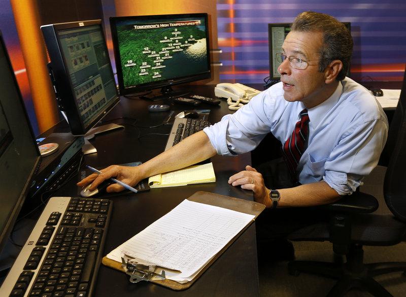 WCSH6 meteorologist Joe Cupo prepares his forecast for the evening news Wednesday, Feb. 6, 2013.