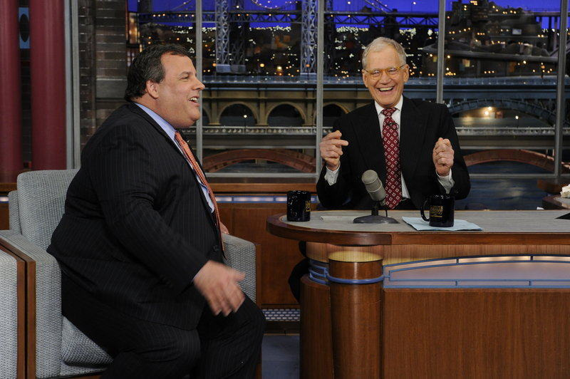 """New Jersey Gov. Chris Christie, left, appears Monday on """"Late Show with David Letterman."""" Christie said Wednesday a doctor who remarked on his weight on CNN should """"shut up."""""""