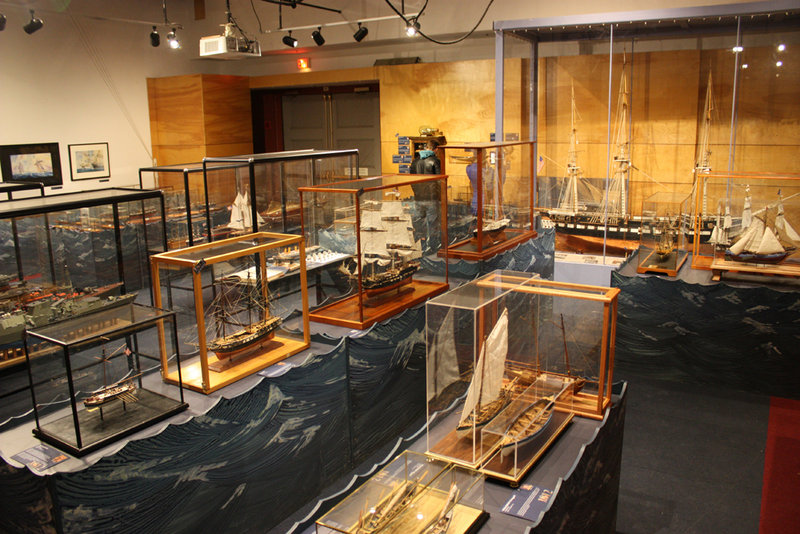 Model ships on display at the USS Constitution Museum in Boston.