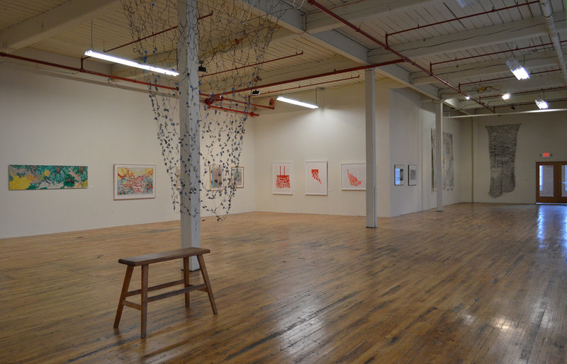 Installation view of Cynthia Davis' mixed-media exhibition at Coleman Burke Gallery in Brunswick.