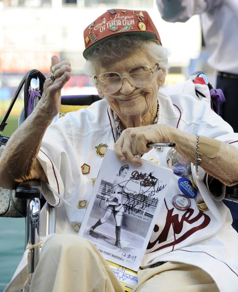 """Lavone """"Pepper"""" Paire Davis, a star of the All-American Girls Professional Baseball League in the 1940s and an inspiration for the movie """"A League of Their Own,"""" has died in California."""