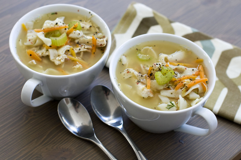 Chicken and shirataki noodle soup has about the same consistency as traditional chicken noodle soup while subtracting carbohydrates and calories.