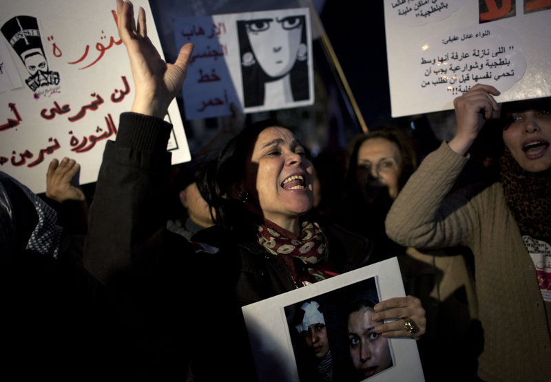 Women rally Tuesday in Cairo to denounce sexual assaults and the Shura Council's suggestion that they should have a designated place to protest to avoid attacks against them.