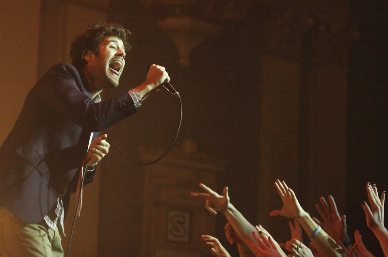 Passion Pit lead singer Michael Angelakos performs at the State Theater in Portland Tuesday, Feb. 12, 2013.