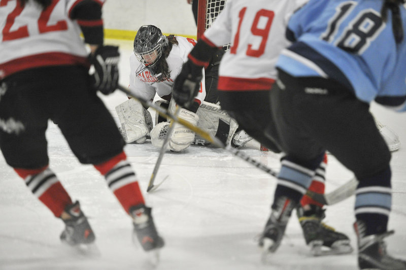 Devan Kane came through when she was needed Wednesday night as the Scarborough High goalie, covering up a rebound in traffic during the 1-0 victory against York in the West final at the Portland Ice Arena.