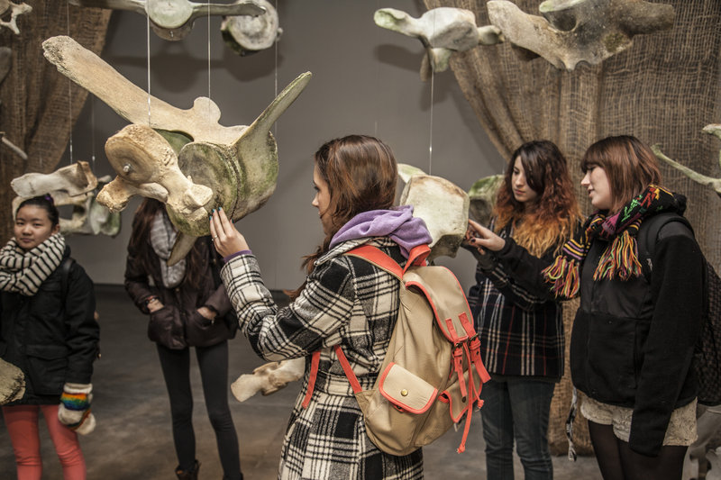 """The DenDantos' """"BUMP"""" exhibit is made of suspended whale bones that are set in motion by intrigued visitors."""