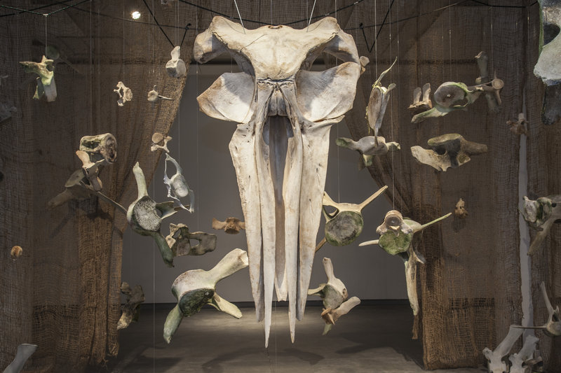 "The DenDantos' ""BUMP"" exhibit is made of suspended whale bones."