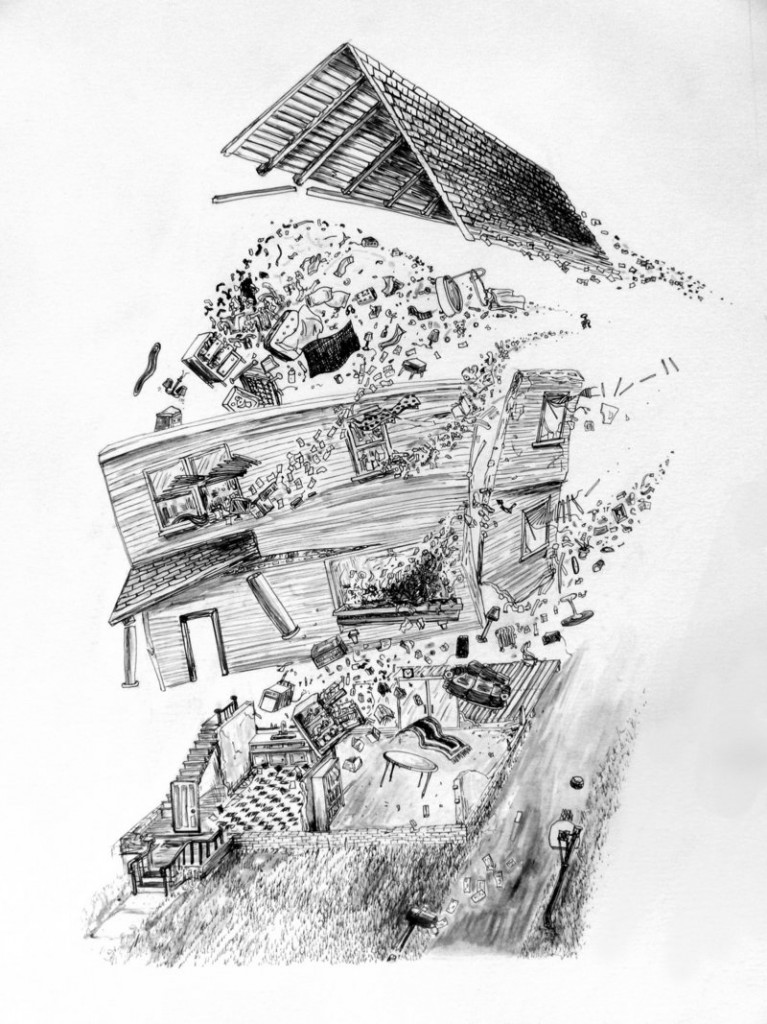"""""""Triumph of the Vanishing Point"""" by Jeff Badger (American), ink on paper."""