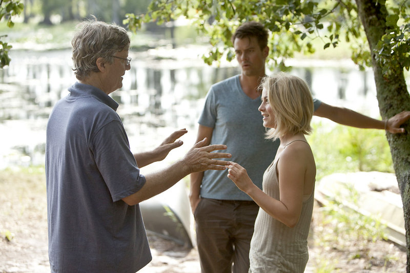 """Julianne Hough on the set of """"Safe Haven"""" with director Lasse Hallstrom and co-star Josh Duhamel. Hough says she's ready to prove that she's more than """"just that chick from the dance show."""""""
