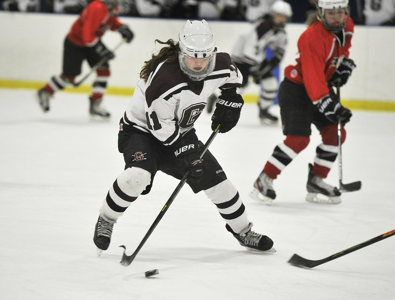 Mary Morrison, a sophomore defenseman, has emerged as a top scoring threat for Greely, which is seeking its second straight state title.