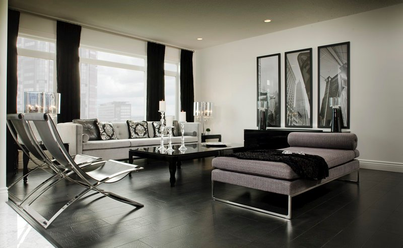 Bonded leather flooring adds a rich look to this contemporary living room.