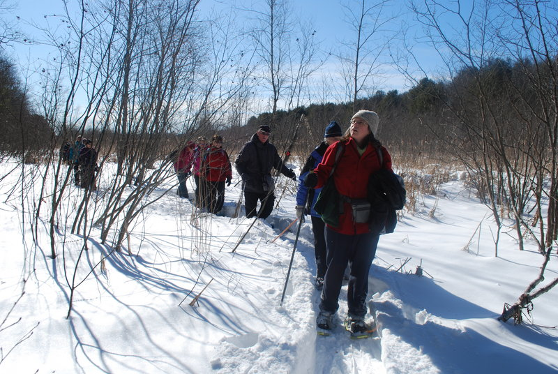 Historian Brenda Cummings leads a hike on the Peterson Canal's frozen 2.5-mile route to connect the New Meadows River with Merrymeeting Bay, a project that made sense on paper back in the 18th century, but not so much on shallow tidal water.
