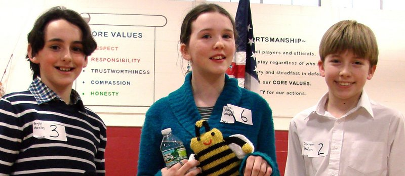 Sixth-graders, from left, Bryce Morales of Berwick Academy, Virginia Bradford of Saco Middle School and Spencer Poulin of Wells Junior High School won first, second and third place, respectively, in the recent York County Spelling Bee.