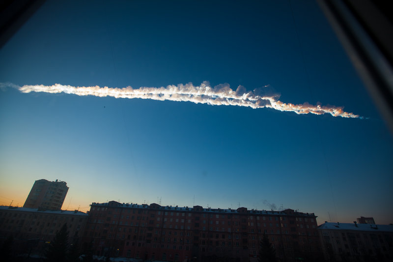 The meteorite leaves a contrail over Chelyabinsk, Russia, on Friday before it exploded. Dozens of witnesses posted photos and videos of the event on the Internet, providing much data for scientists.