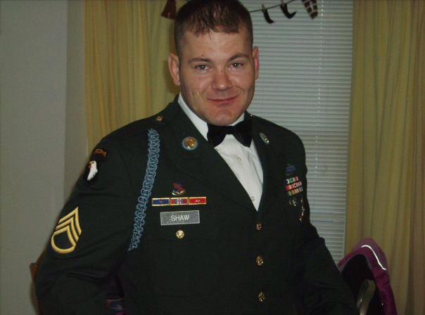 Staff Sgt. Eric Shaw, here in his dress uniform, had planned to be a history teacher after graduating from the University of Southern Maine, but he couldn't find work and joined the Army instead.