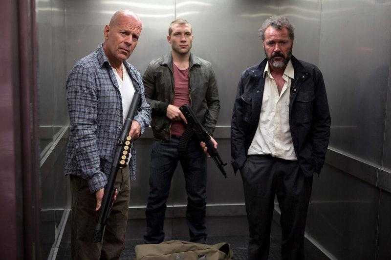 Bruce Willis, Jai Courtney and Sebastian Koch in