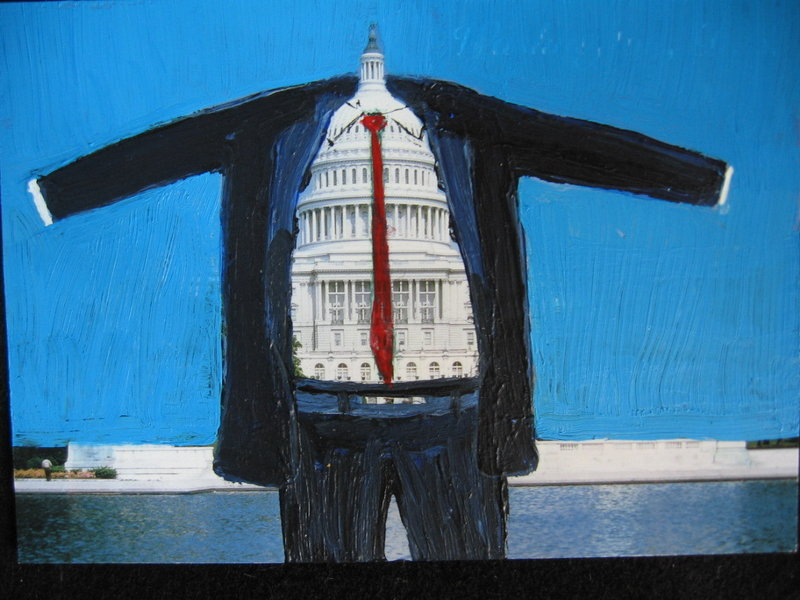 Natasha Mayers' new exhibit inserts banking figures into touristy postcards from around the United States.