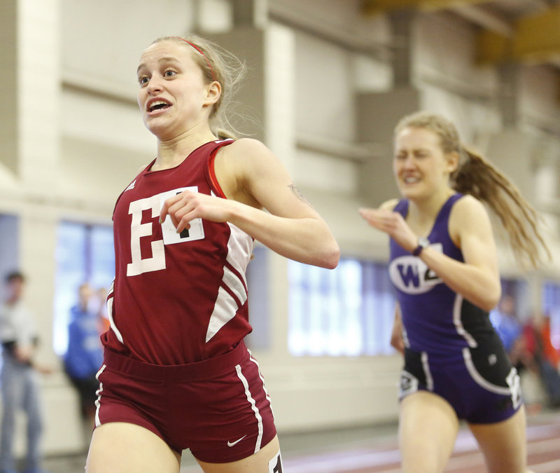 Aleta Looker of Ellsworth edges Bethanie Brown of Waterville to win the 800 meters in the Class B meet, finishing in 2:18.96.