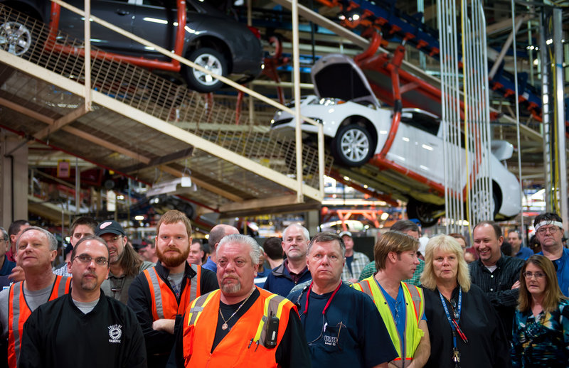 """General Motors employees in Kansas City, Kan., listen to GM CEO Dan Akerson announce a $600 million investment in the plant Jan. 28. Anecdotal evidence suggests manufacturing employment is getting a boost from """"in-shoring."""""""