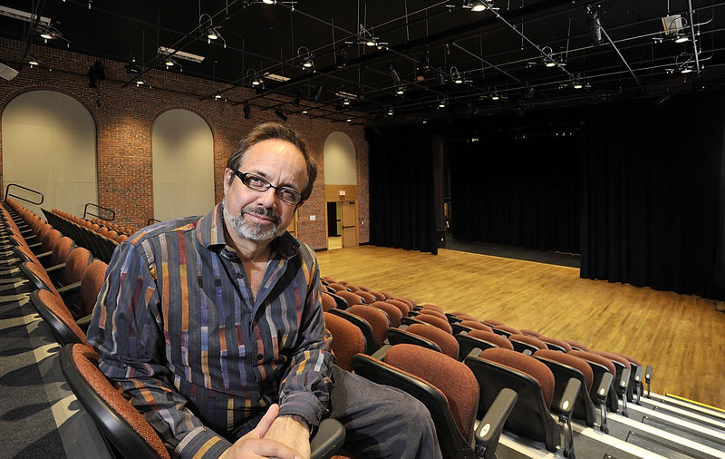 """Kent Stephens in the new Star Theatre, which occupies the cafeteria and gymnasium of the former Frisbee School in Kittery. Stephens wlll christen the theater next month with """"Cape May,"""" which was written by Patricia Lynch, his wife and the executive director of The Music Hall in Portsmouth, N.H."""