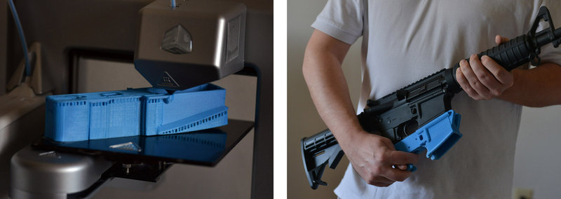 Travis Lerol, a 30-year-old software engineer, holds an AR-15 assault rifle with a plastic lower receiver, the part that includes the firing mechanism, which he can make using his 3-D printer.