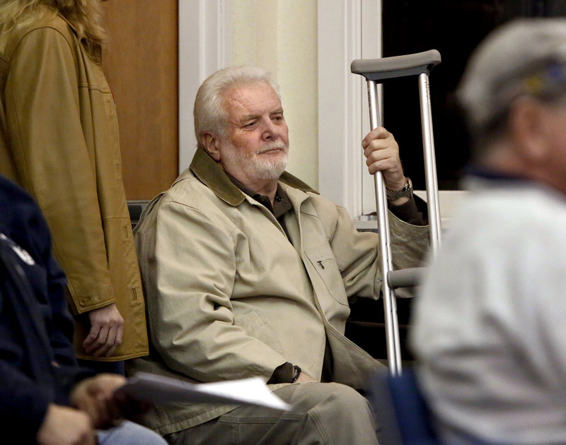 Public Works Director Bill Robertson attends an Old Orchard Beach Town Council meeting Tuesday, where a debate touched on his alleged threat to shoot the town manager.
