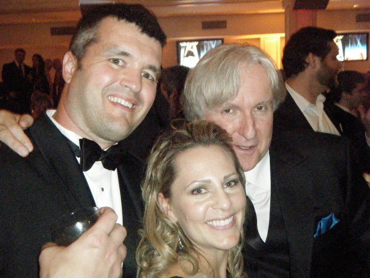 """Eric Saindon with his wife, Beth, and """"Avatar"""" director James Cameron at the Academy Awards ceremony in 2010. """"Avatar"""" won three Oscars, including Best Visual Effects, Best Cinematography and Best Art Direction."""