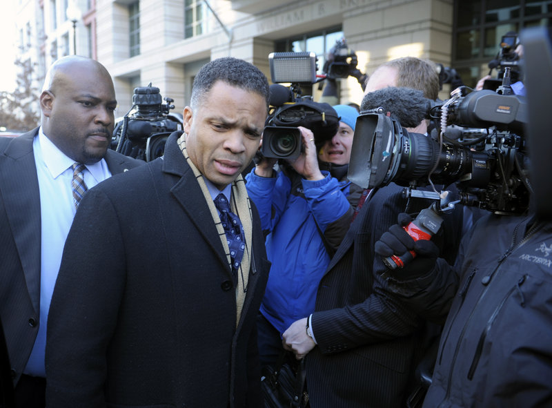 Former Illinois Democratic Rep. Jesse Jackson Jr. leaves federal court in Washington on Wednesday.