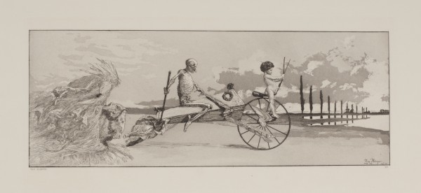 """""""Amor, God und Jenseits"""" (""""Cupid, Death and the Beyond""""), 1881, etching and aquatint by Max Klinger."""