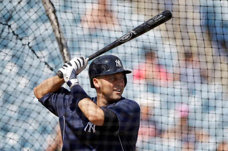 Derek Jeter, swinging the bat in spring training, hopes to be ready for the Yankees' opener April 1. A broken ankle in the playoffs last year ended his season and the Yankees' playoff hopes in 2012.