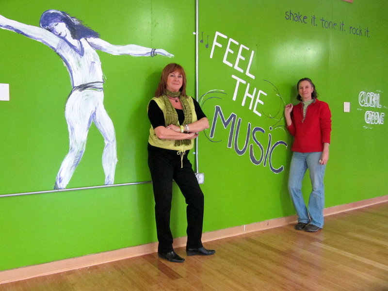 Joyce Bagshaw of Wells, left, and her sister Janet Berger of Parsonsfield, who designed some of the wall art, are preparing the former Pura Vida dance studio for a March opening. The new business is called Danceworks.